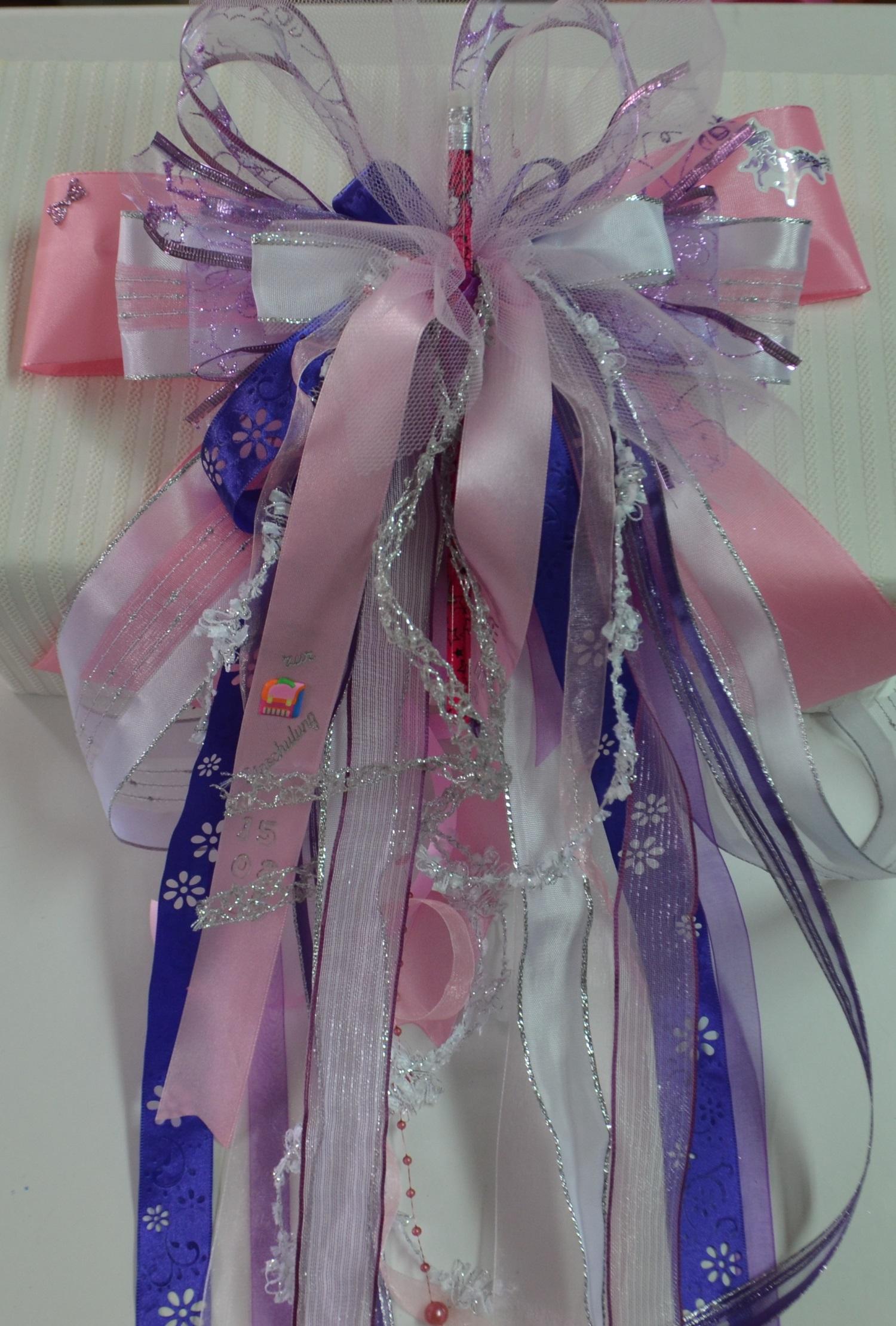 Schleife*für Schultüte*Zuckertüte*Schultütenschleife*Einschulung*rosa*weiß*