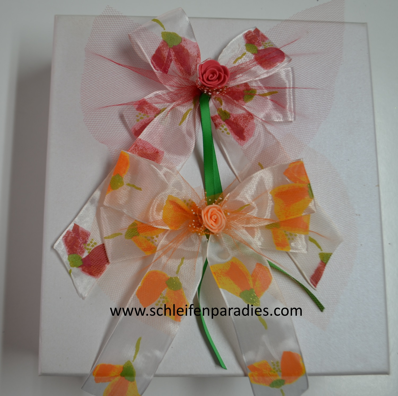 Schleifenparadies Tullschleife Mit Organza Glitter Und Einer Rose